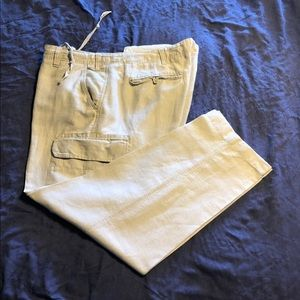 CARGO PANTS - Cream coloured- linen/cotton
